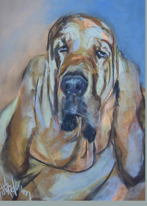 Dog Greeting Card featuring the painting Just Another Magic Bloodhound by Debbie Anderson