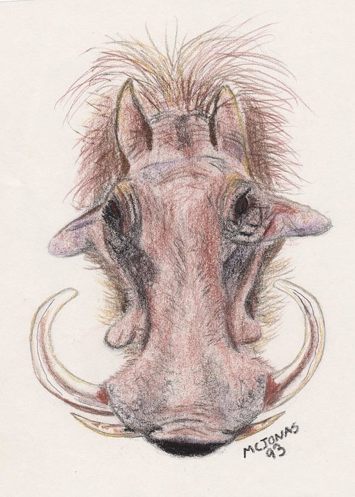 Warthog Greeting Card featuring the drawing Just Another Pretty Face by Marqueta Graham