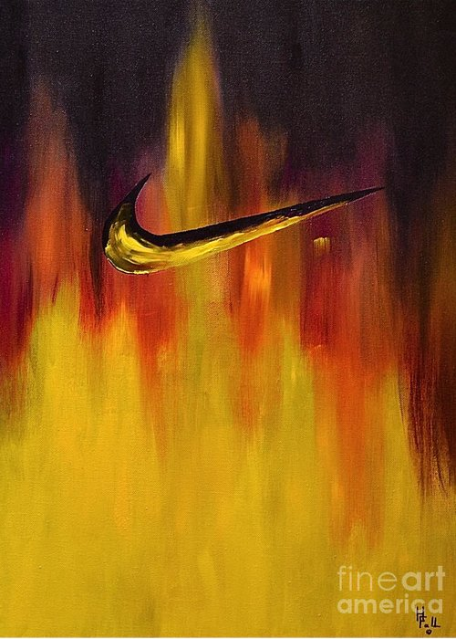 Sports Nike Abstract By Herschel Fall Greeting Card featuring the painting Just Do It by Herschel Fall
