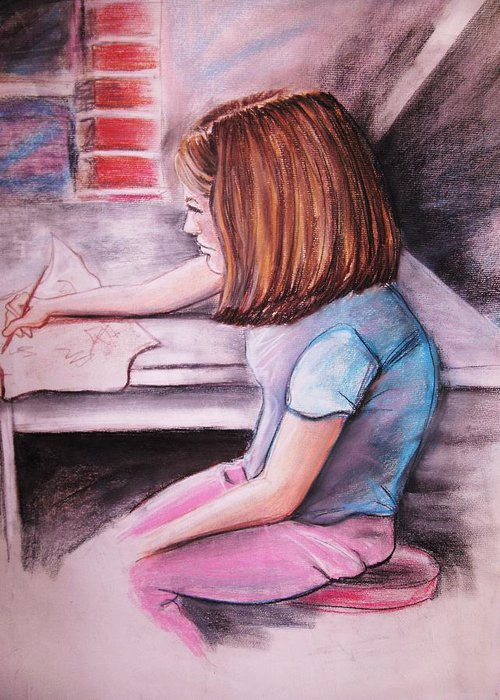Girl Greeting Card featuring the pastel Just Draw Me by Scott Easom