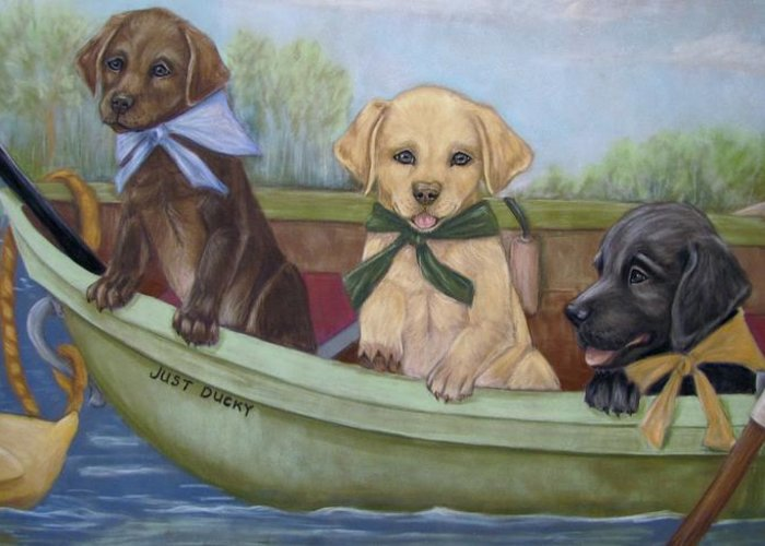 Puppies Greeting Card featuring the pastel Just Ducky by Teresa LeClerc