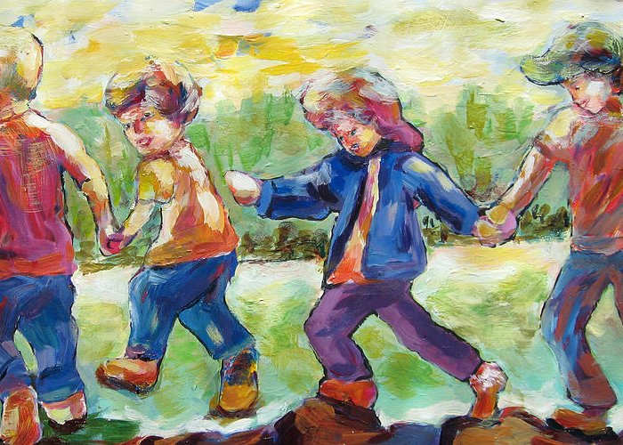 Children Just Having Fun Greeting Card featuring the painting Just Having Fun by Naomi Gerrard