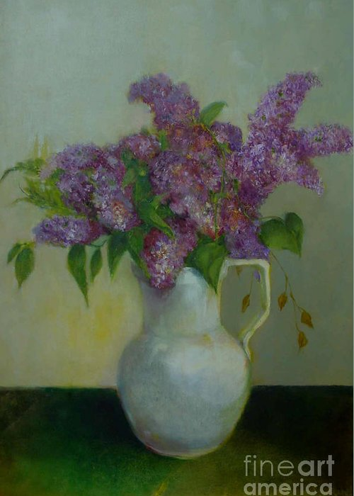 Greeting Card Greeting Card featuring the painting Just Lilacs         Copyrighted by Kathleen Hoekstra
