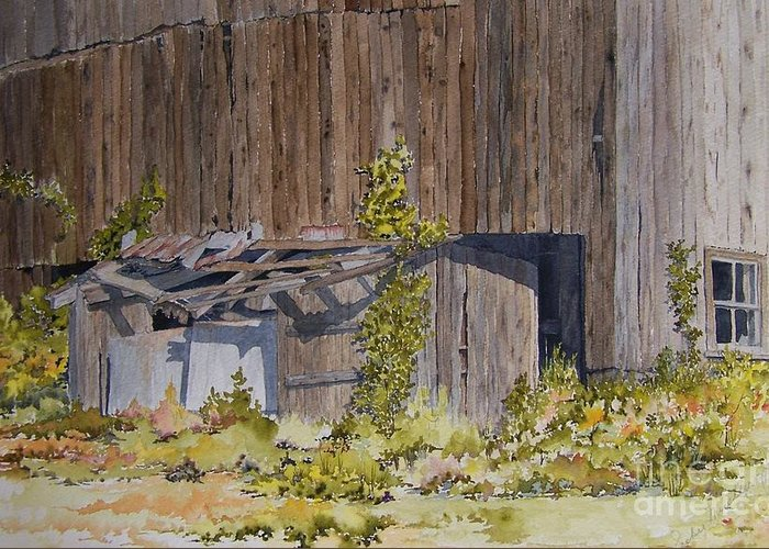 Barn Greeting Card featuring the painting Just Listen To The Silence by Jackie Mueller-Jones