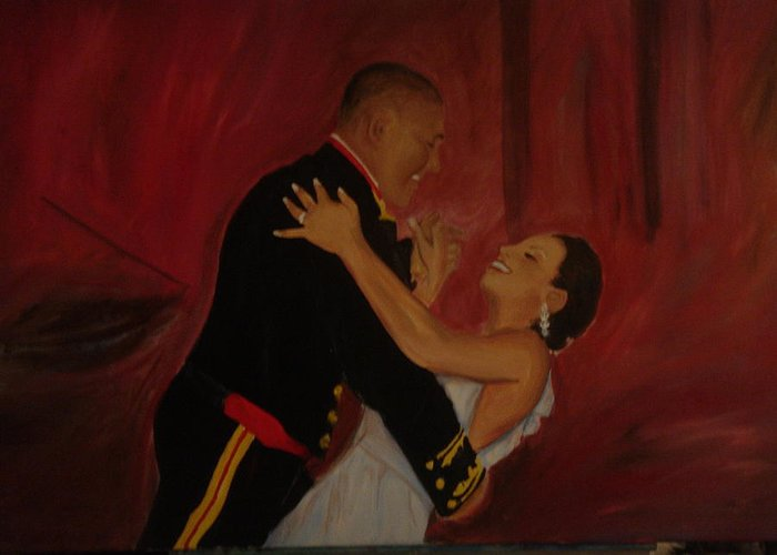 Marine Greeting Card featuring the painting Just Married by Regina Walsh