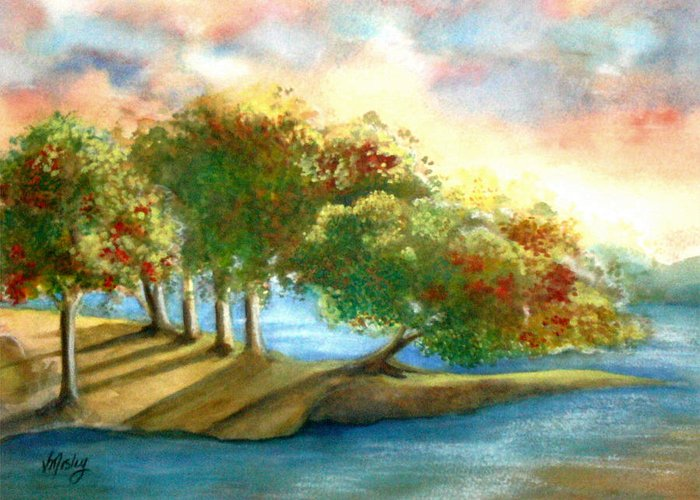 Landscape Greeting Card featuring the painting Just My Imagination by Vivian Mosley