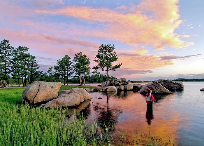 Fishing. Fly Fishing. Lake Sunset. Clouds. Grass. Weeds. Blue Sky. Pine Tree. Pond. Weather. Rain. Sundown.fine Art Lake Fishing. Fine Art Fishing Greeting Cards. Fishing Wall Art. Gallery Wall Art. Sunset Greeting Cards. Summer Fishing. Fishing Dowdy Lake Colorado. Colorado Fishing.mixed Media. Mixed Media Photography. Colorado Greeting Cards. Colorado Lake. Greeting Card featuring the photograph Just One More by James Steele