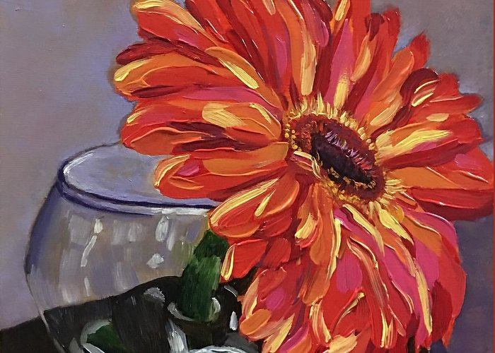 Gerbera Daisy Greeting Card featuring the painting Just One by Nancy Breiman