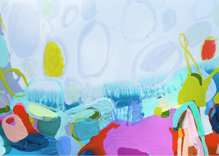 Abstract Greeting Card featuring the painting Just Sing by Claire Desjardins