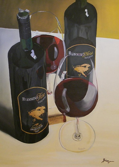 Wine Art Paintings Greeting Card featuring the painting Just The 2 Of Us by Brien Cole