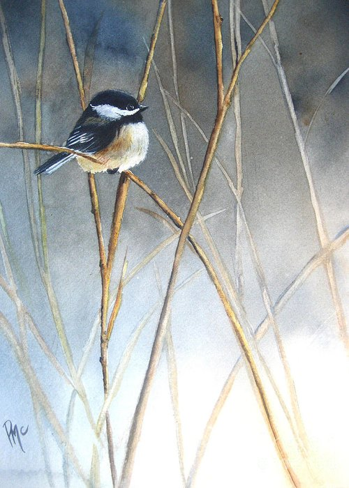 Chickadee Greeting Card featuring the painting Just Thinking by Patricia Pushaw