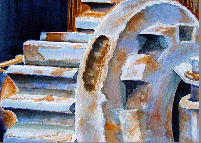 Machinery Greeting Card featuring the painting Just Won't Budge by Marsha Elliott