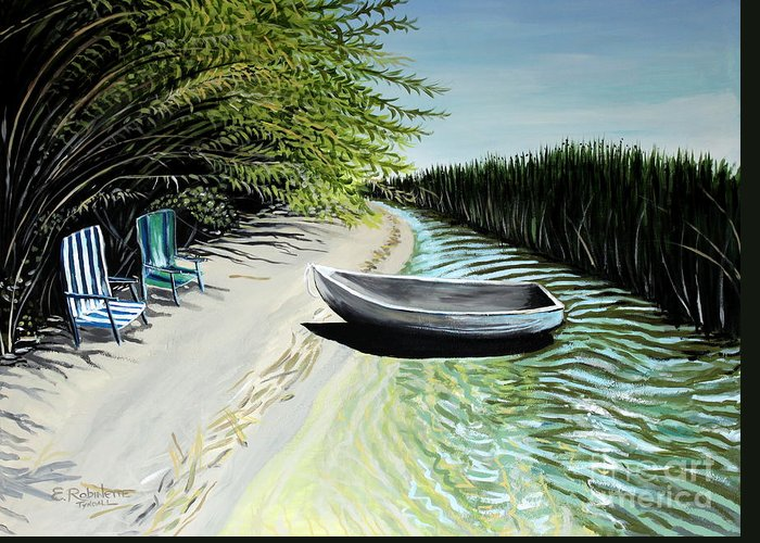 Boat Greeting Card featuring the painting Just You And I by Elizabeth Robinette Tyndall