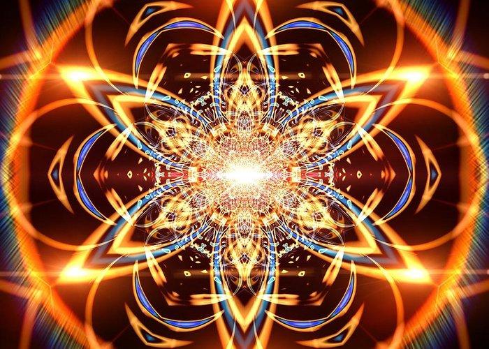Mandala Greeting Card featuring the digital art Jyoti Ahau 436 by Robert Thalmeier