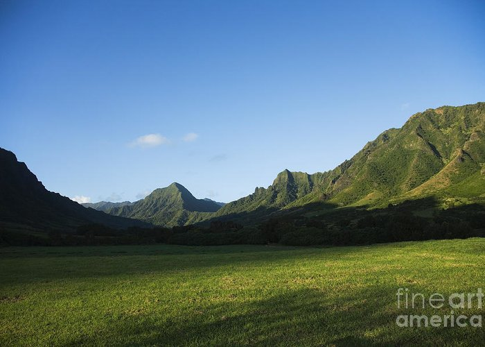 Bright Greeting Card featuring the photograph Kaaawa Valley by Dana Edmunds - Printscapes