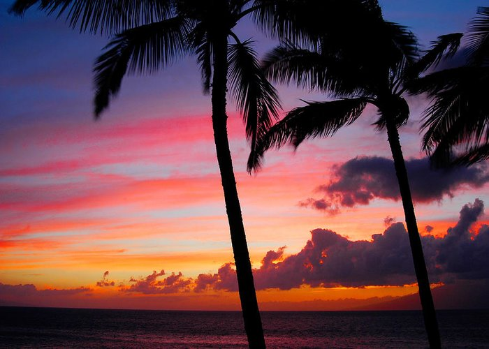 Kaanapali Sunset Greeting Card featuring the photograph Kaanapali Sunset Kaanapali Maui Hawaii by Michael Bessler