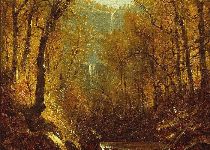 Kaaterskill Greeting Card featuring the painting Kaaterskill Falls by Sanford Robinson Gifford