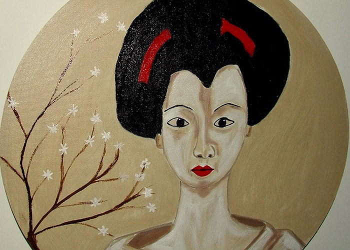 Japanese Greeting Card featuring the painting Kabuki Girl by Rusty Gladdish