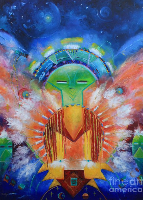 Native American Greeting Card featuring the painting Kachina Spirit by Gail Salitui