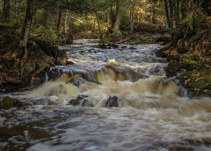 Michigan Waterfall Greeting Card featuring the photograph Kakabika Falls by William Christiansen