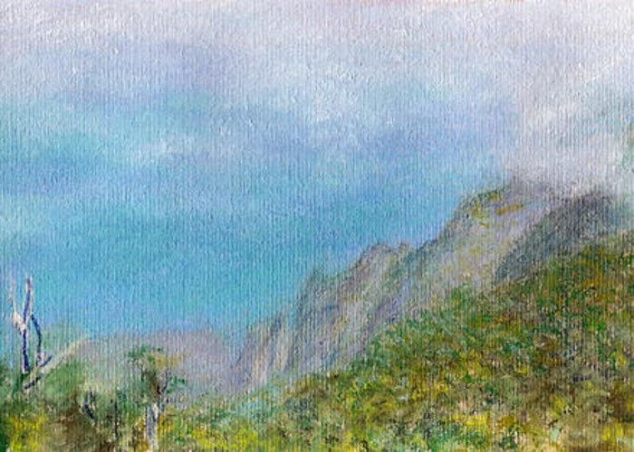 Rainbow Colors Pastel Greeting Card featuring the painting Kalalau Mist by Kenneth Grzesik
