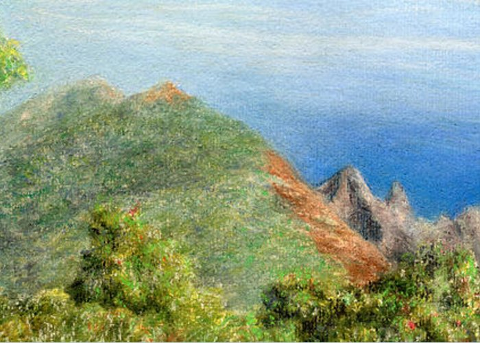 Rainbow Colors Pastel Greeting Card featuring the painting Kalalau View by Kenneth Grzesik