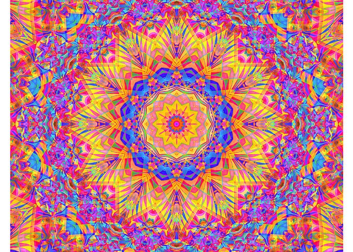 Mandala Greeting Card featuring the digital art Kaleido - Rubiat 20a - Sq by Terry Anderson