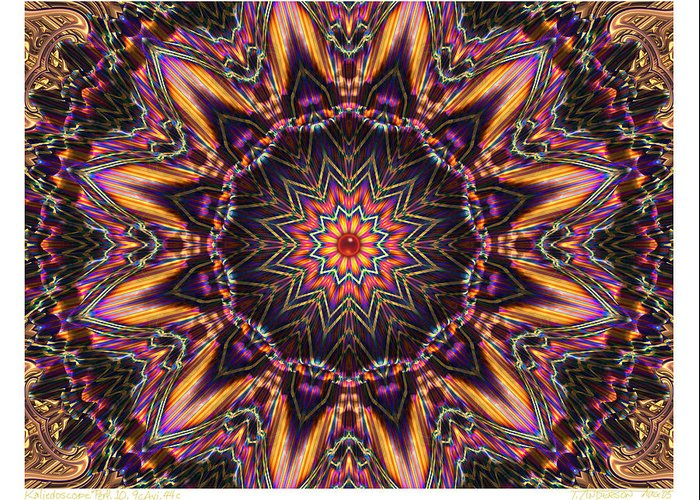 Kaleidoscopes; Mandala Images; Autumn Colors; Kaleidoscopic Art Greeting Card featuring the digital art kaleido Perf10 9cAvi 44 by Terry Anderson
