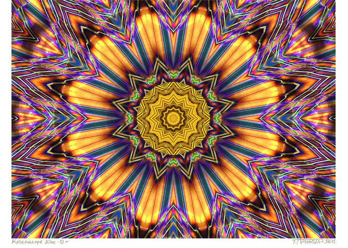 Kaleidoscopes; Mandala Images; Digital Art; Psychedelic Art; Op Art; Mytical Art Greeting Card featuring the digital art kaleido Perfect 10ae 12-plus by Terry Anderson