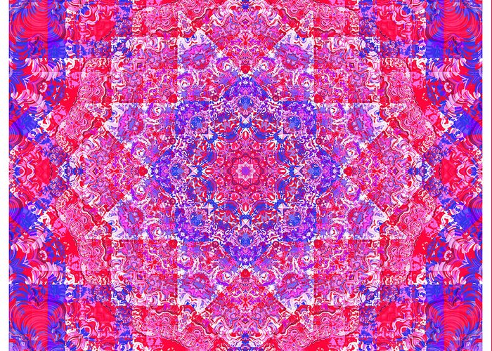 Kaleidoscope Greeting Card featuring the digital art kaleido-Rubiat-3D Sq 53d Kwilt by Terry Anderson