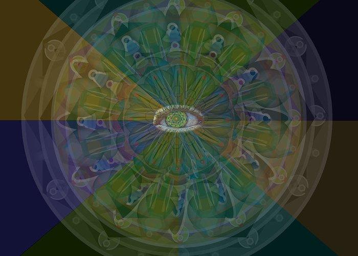 Eye Greeting Card featuring the digital art Kaleidoscope Eye by Shelley Myers