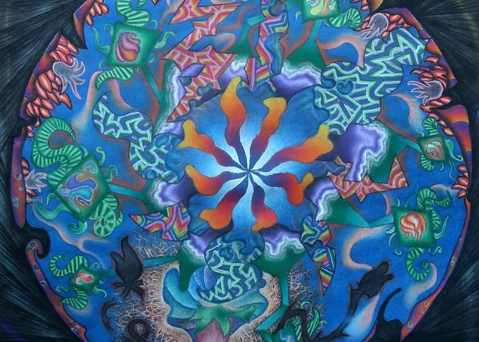 Pastel Greeting Card featuring the pastel Kaleidoscope Eyes by Angelina G T