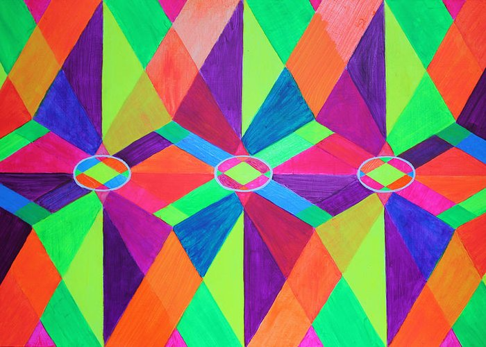 Kaleidoscope Greeting Card featuring the painting Kaleidoscope Wise by Ann Sokolovich
