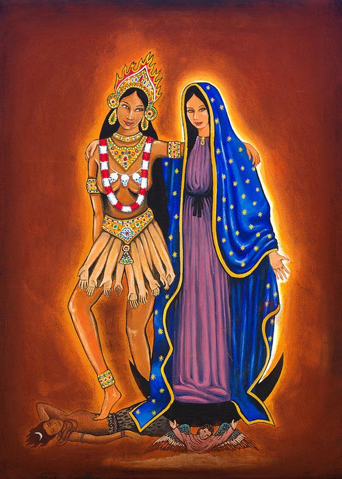 Kali Greeting Card featuring the painting Kali And The Virgin by James Roderick