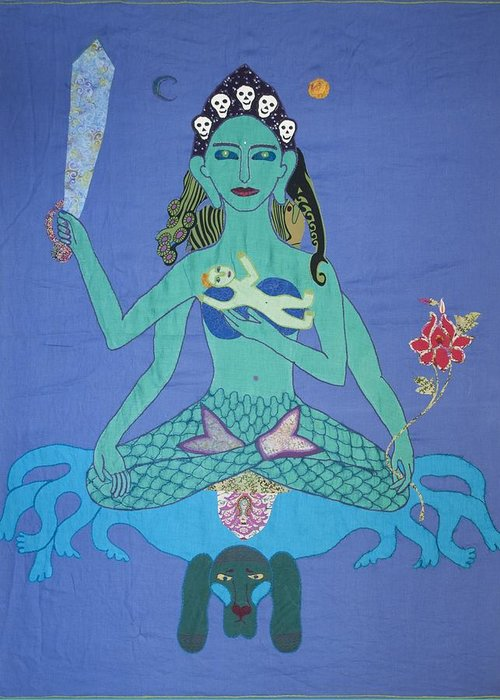 Goodness Greeting Card featuring the tapestry - textile Kali Ma by Sonja Yunda