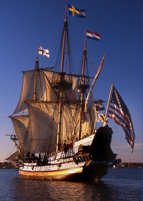 Sail Greeting Card featuring the photograph Kalmar Nyckel by Skip Willits