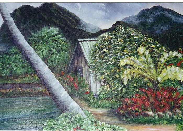 Landscape Greeting Card featuring the painting Kanaka House by Laura Johnson