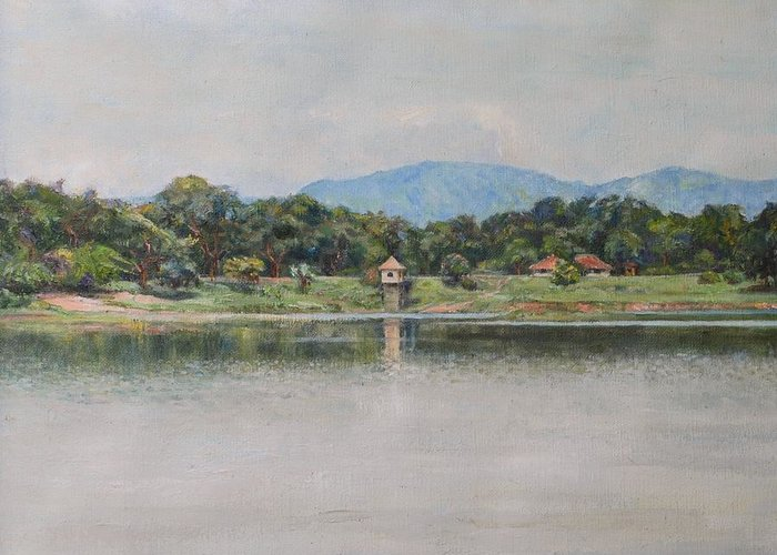 Landscape Greeting Card featuring the painting Kandalama Lake by Ifthikar Cader