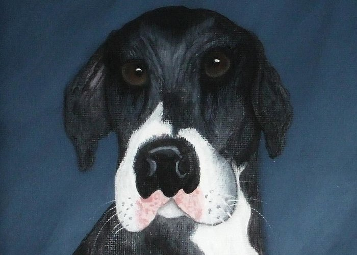 Great Danes Greeting Card featuring the painting Kane by Rebecca Fitchett