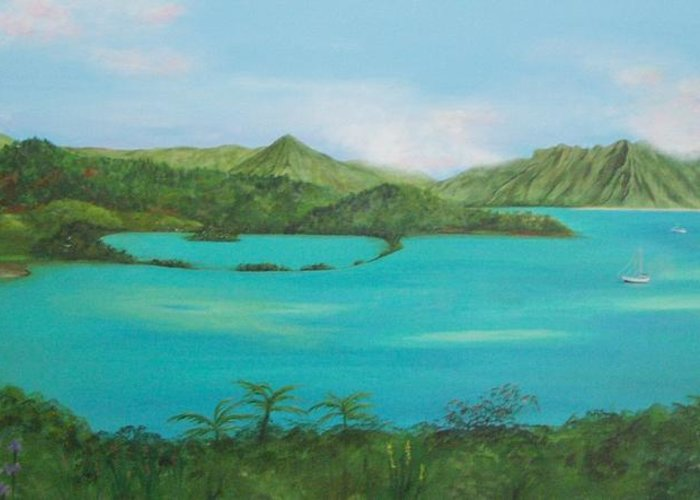 Hawaii Greeting Card featuring the painting Kaneohe Bay by Patti Bean