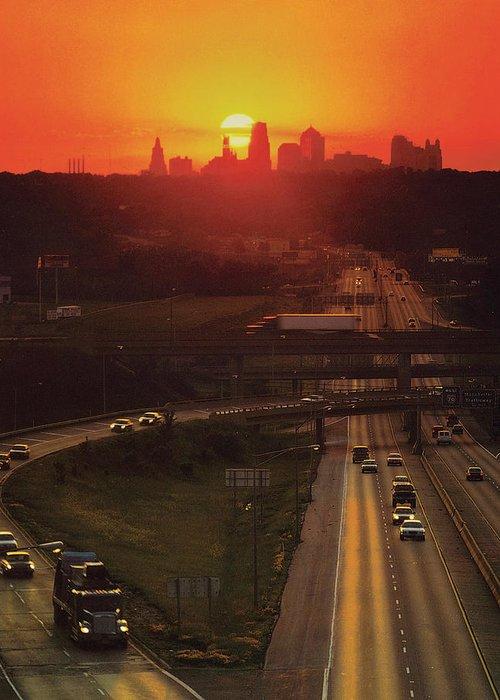 Kansas City Skyline Greeting Card featuring the photograph Kansas City I 70 Sunset by Don Wolf