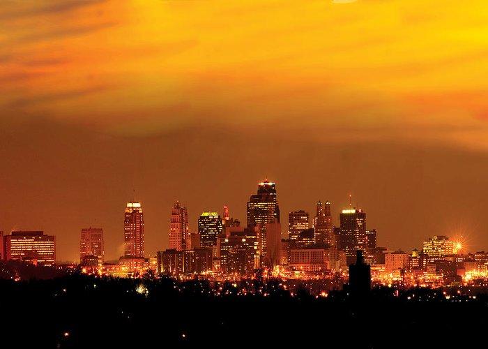 Kansas City Greeting Card featuring the photograph Kansas City Missouri Skyline by Don Wolf