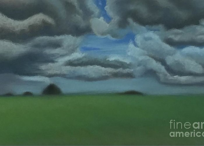 Landscape Greeting Card featuring the drawing Kansas Clouds by Emily Young
