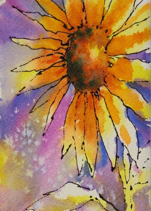 Sunflowers Greeting Card featuring the painting Kansas Day by Tara Moorman