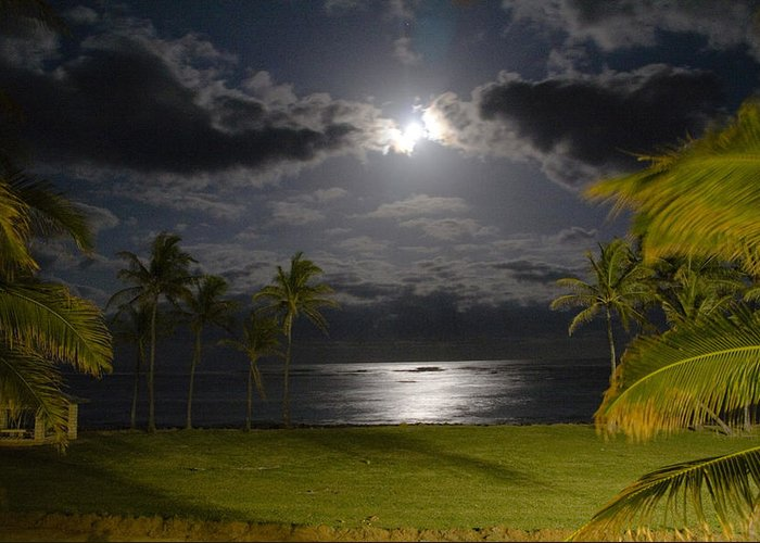 Hawaii Greeting Card featuring the photograph Kapa'a Moonrise by Sam Oppenheim
