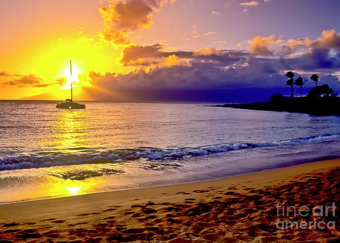 Scenics Greeting Card featuring the photograph Kapalua Bay Sunset by Jim Cazel