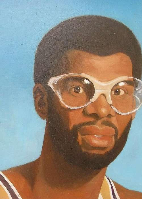 Sports Celebrities Portraits Greeting Card featuring the painting Kareem by Nigel Wynter