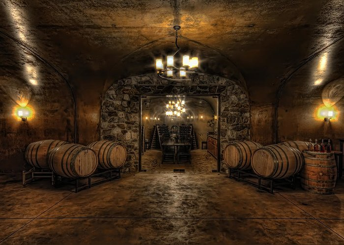 Hdr Greeting Card featuring the photograph Karma Winery Cave by Brad Granger
