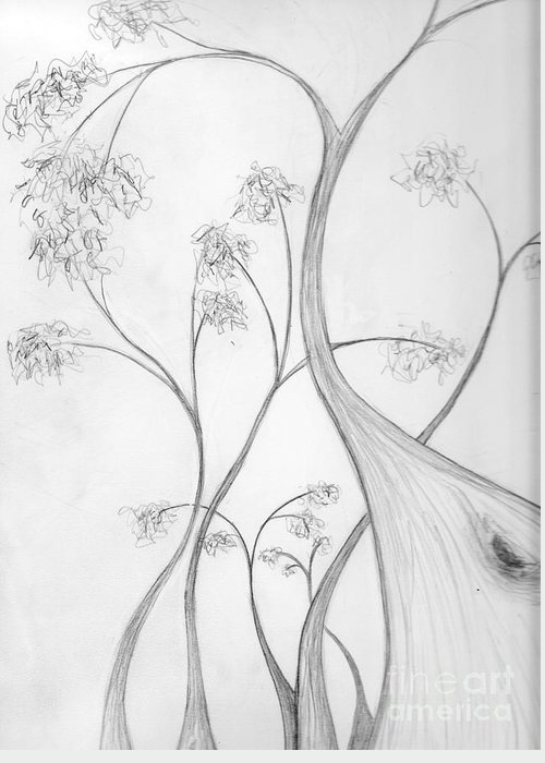 Greeting Card featuring the drawing Karri Forest by Leonie Higgins Noone