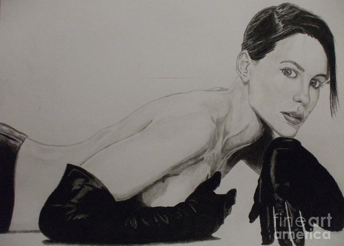 Kate Greeting Card featuring the drawing Kate Beckinsale by John Prestipino